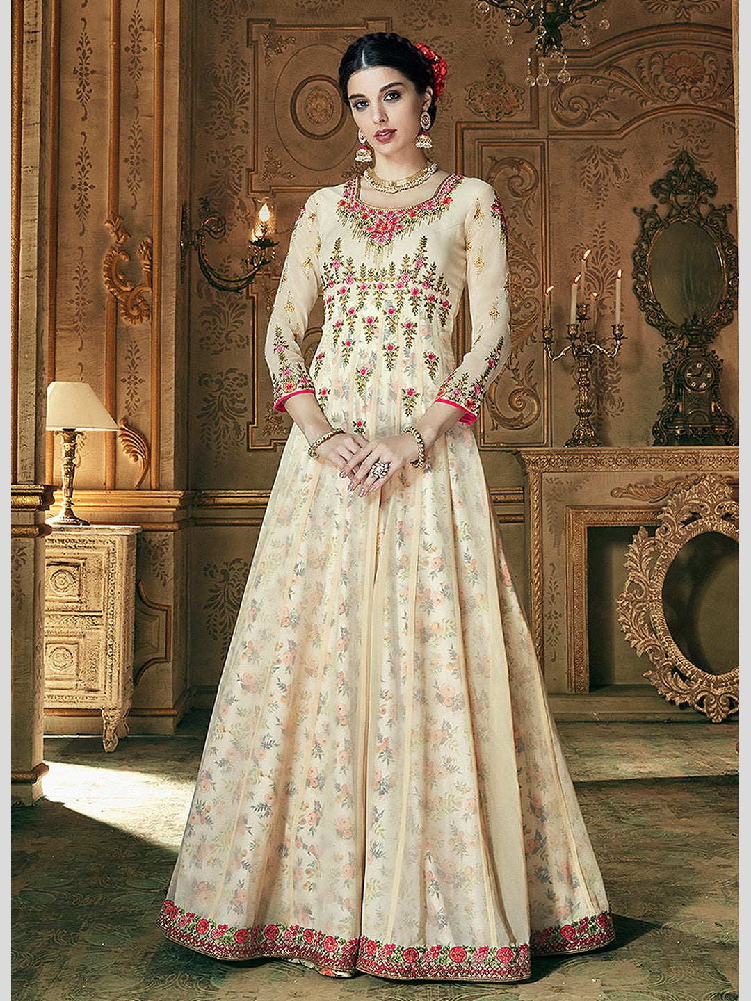 Georgette Embroidered Anarkali