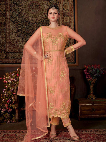 Indian Dresses - Silk & Net Embroidery