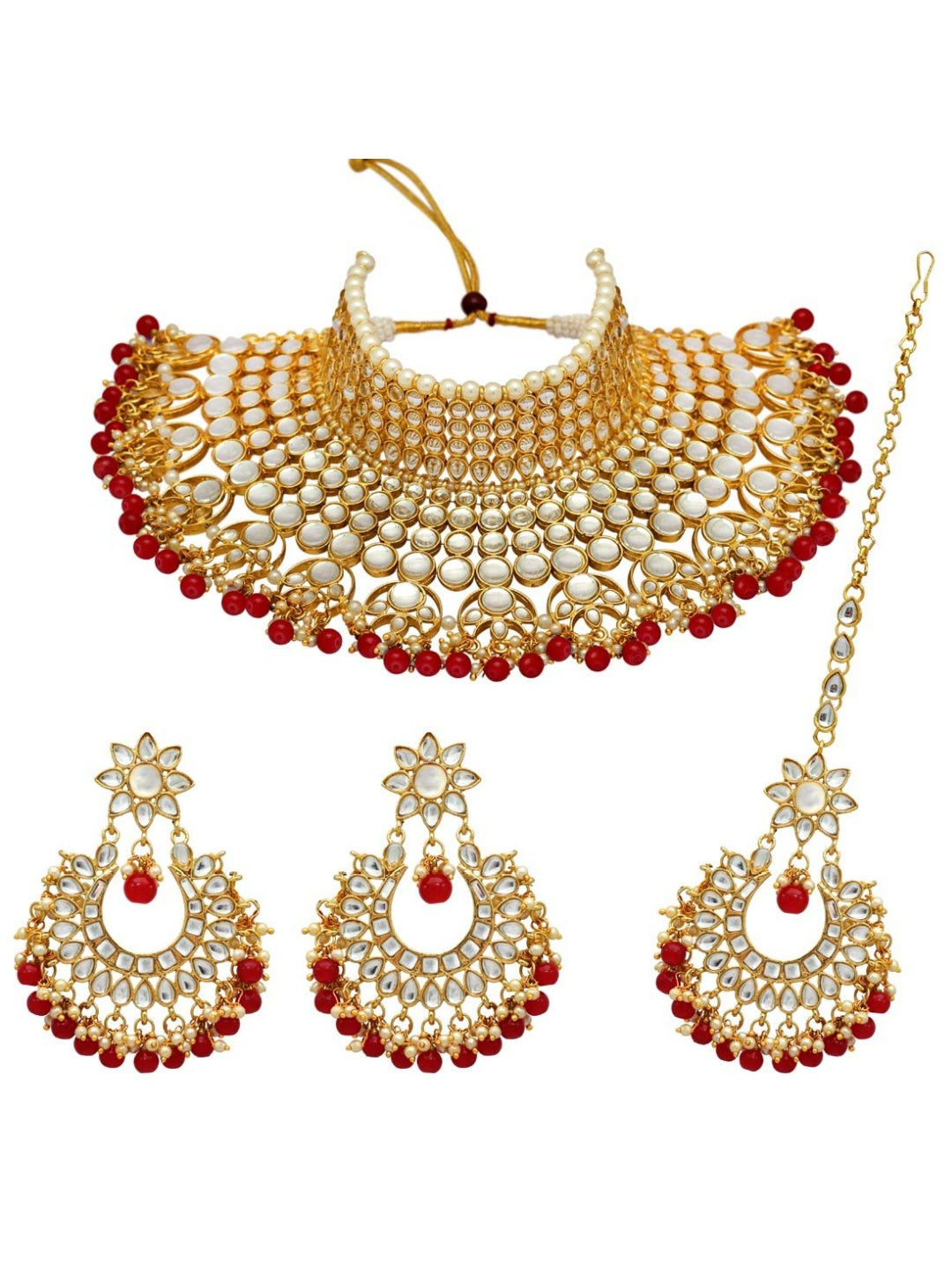 Kundan & Pearl Necklace & Tikka