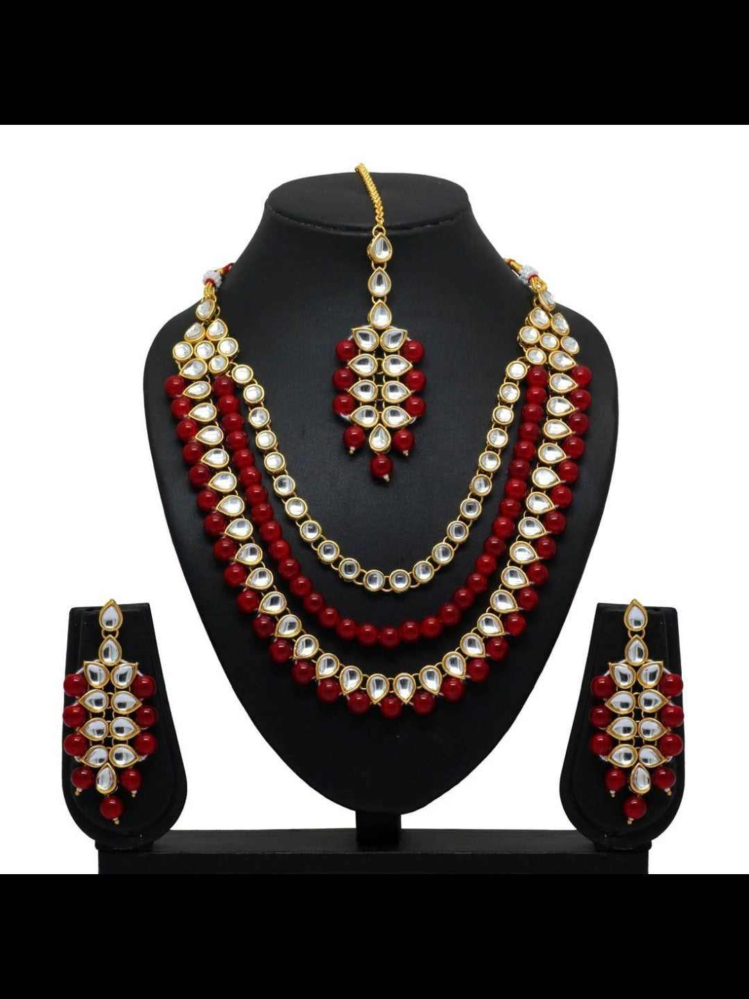 Kundan & Pearl Necklace with Tikka