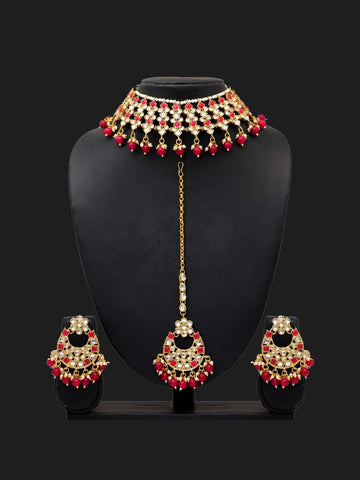 Indian Jewellery - Kundan & Pearl Necklace with Tikka