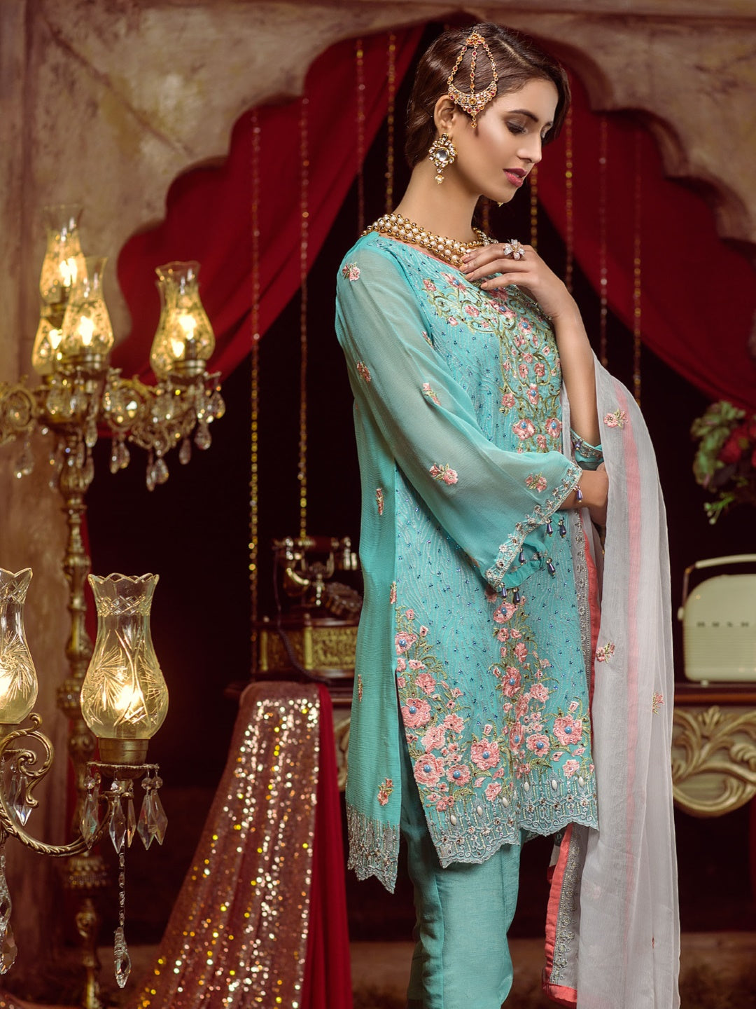 Chiffon & Silk Embroidery Pakistani Suit