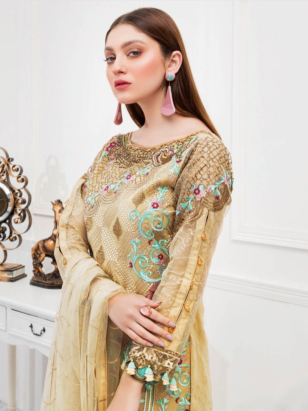 Embroidered Organza Pakistani Dress