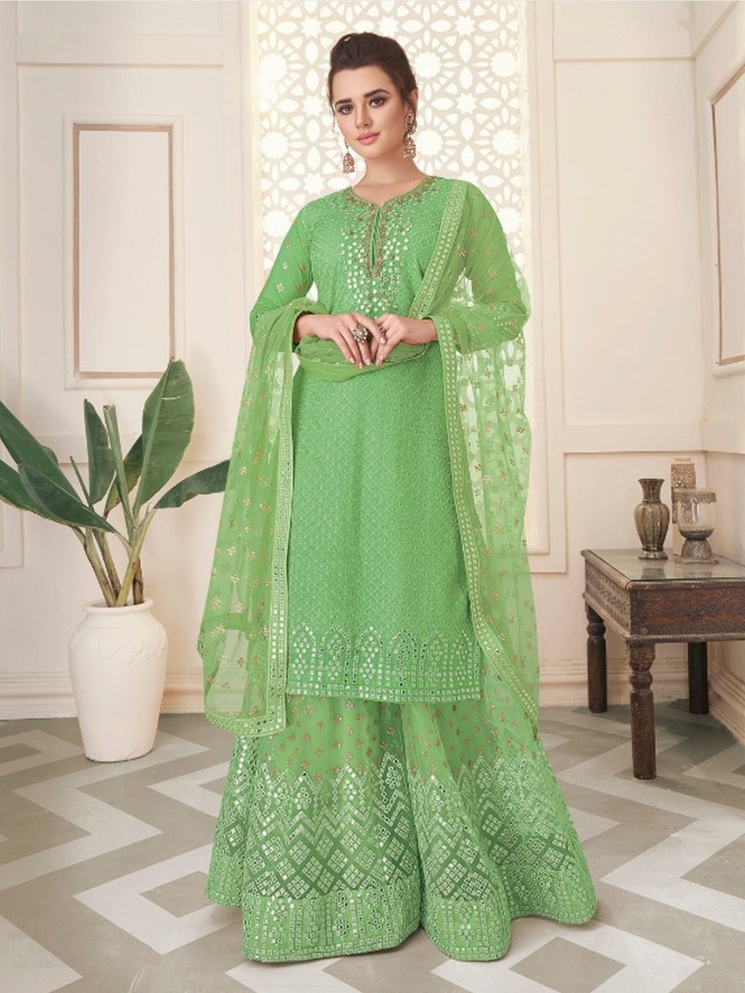 Embroidery on Georgette & Net
