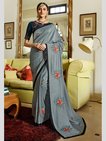Embroidered Art Silk Sari