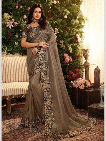 Satin Georgette Embroidery Sari