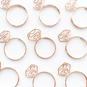 Diamond Ring Paper Clips Set Stationery - Clips alleymuse
