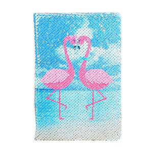 Reversible Sequin Journal - Flamingo Stationery - Journal alleymuse Pink Flamingo / Blue Background