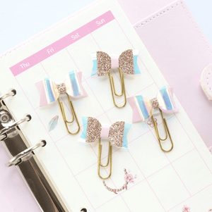 Glitter Holographic Bow Clips Stationery - Clips alleymuse