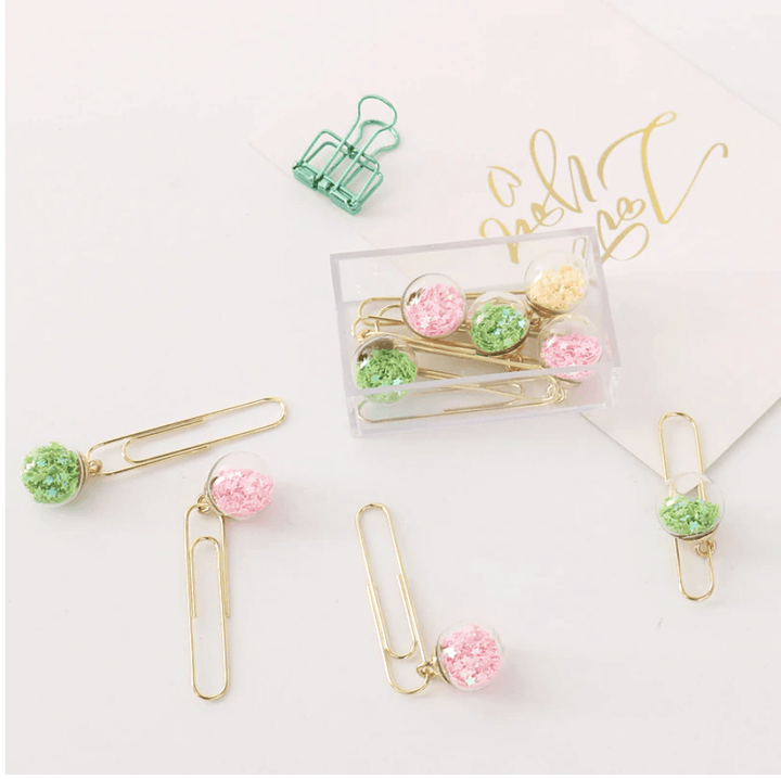 Glass Ball Planner Clips Set - Pastel Colors