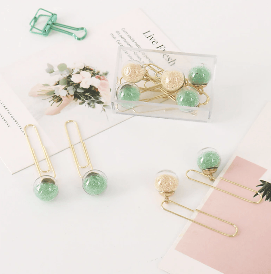 Glass Ball Planner Clips Set - Pastel Colors Stationery - Clips AliExpress - 1212 Store