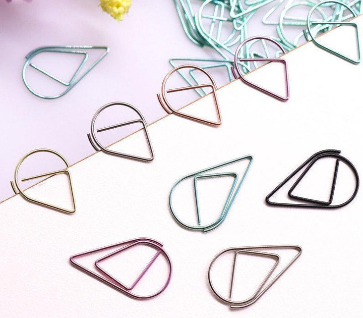 Tear Drop Paper Clips Set of 60 Stationery - Clips alleymuse