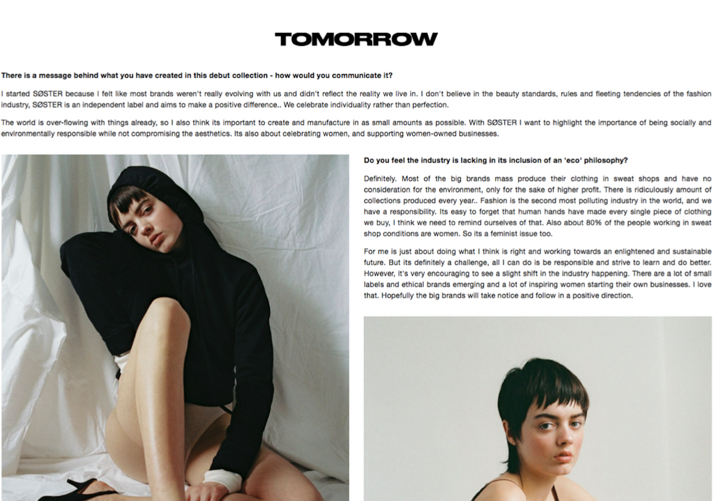 SØSTER STUDIO IN TOMORROW MAGAZINE