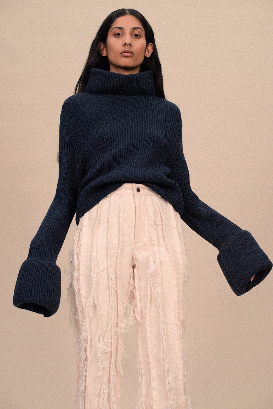 HIGH NECK SWEATER WITH CUFFED SLEEVES - PRE ORDER