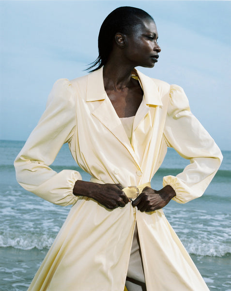 YELLOW TENCEL COAT