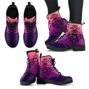 Pentagram Wicca Leather Boots