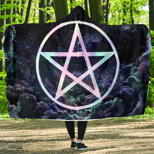 Pentagram wicca Hooded Blanket