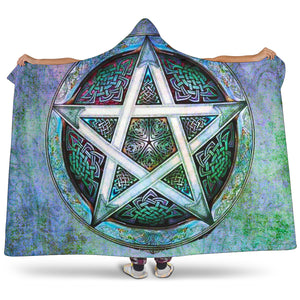 Wicca pentagram Hooded Blanket
