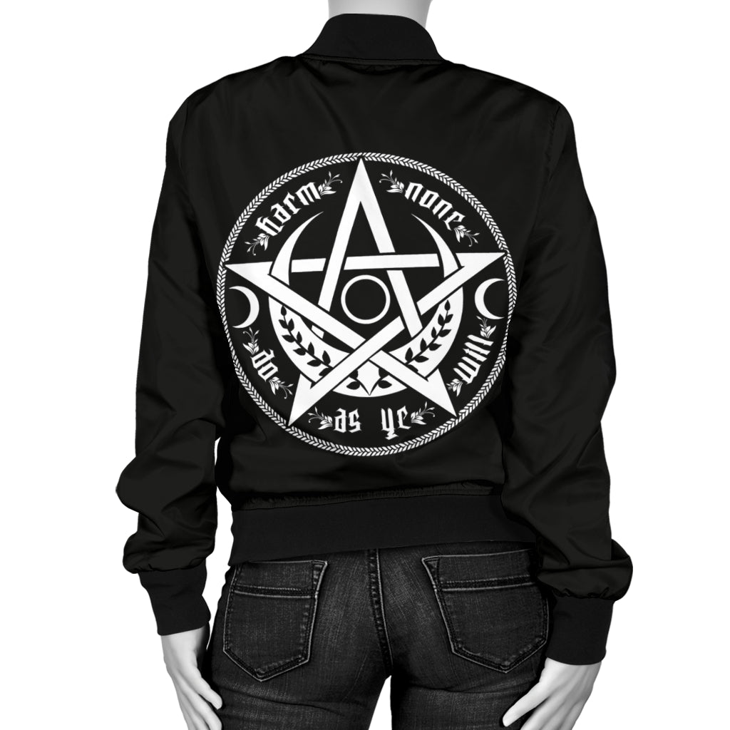 Wicca Harm none Women Bomber Jacket