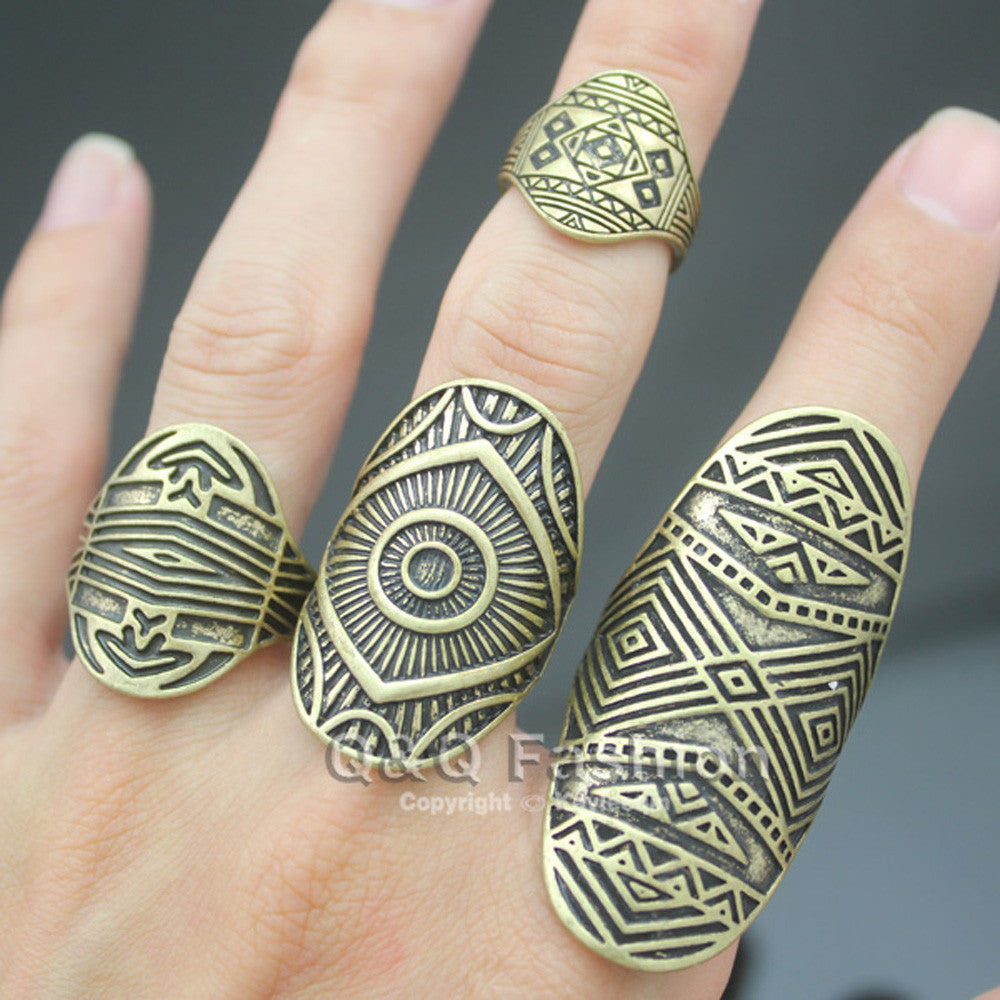 2017 Chic Pack of 4 Vintage Tribal Indian Mayan Calendar Aztec Warrior Band Men Ring Biker Jewelry