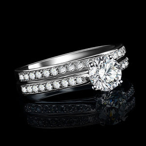 Silver Couple Rings Wedding Jewelry 2pc/set