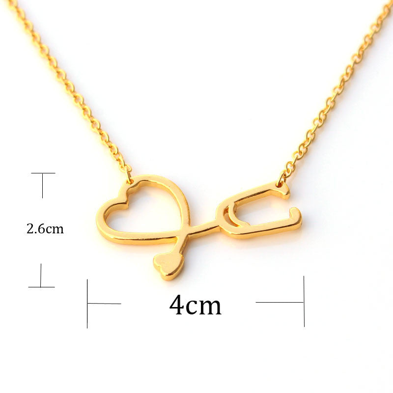 I Love You Heart Pendant Necklace Stethoscope Necklace for Nurse Doctor
