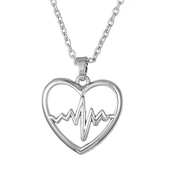Heartbeat Zigzag Wave Pattern Pendant Necklace Gift for Doctor Nurse