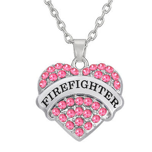 Firefighter crystal necklace