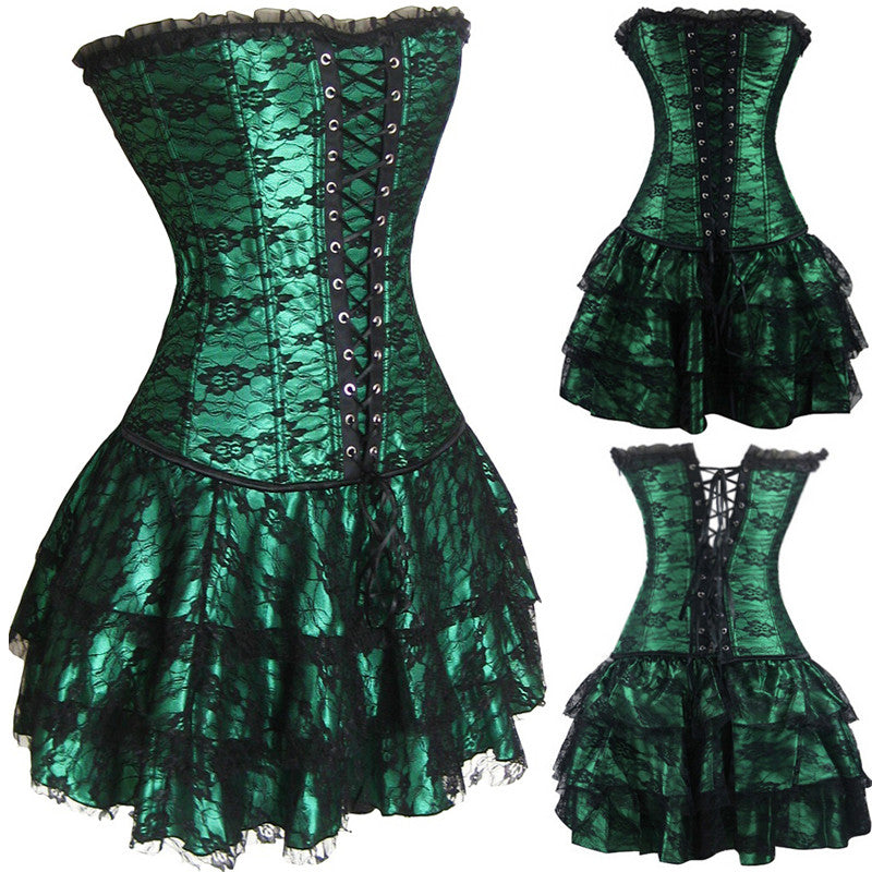 Corset bustier lace evening women casual dress plus size push up gothic corset party dress