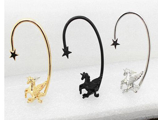 New 1 pcs Fashion Punk Rock Stereoscopic Running Horse Unicorn Star Lady Stud Earring for left ear