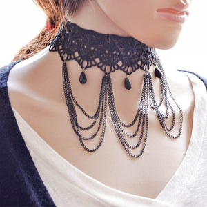 2017 Fashion Jewelry Statement Necklace Gothic Women Black Lace Choker