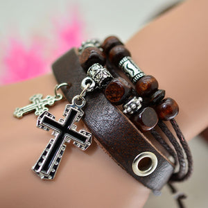 2017 New Mens Leather Cross Charm Bracelet