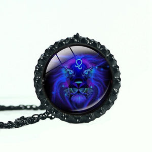 12 constellation astrology horoscope Galaxy disco blue necklace jewelry