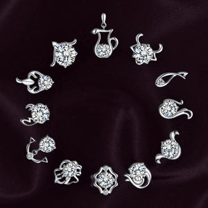 1 Pair Chic 12 Constellations Zodiac Sign Silver Plated Woman Earrings