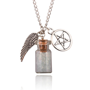 Angel Wing Pentagram Glass Wishing Bottle Pendant Supernatural Protection Chain Necklace