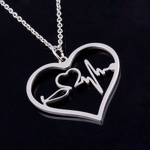 Nurse Medical Stethoscope Heartbeat Heart Charm Pendant Necklace