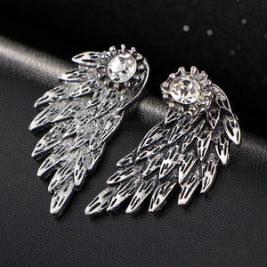Gothic Jewelry Gold Color Crystal Angle Wings Earrings