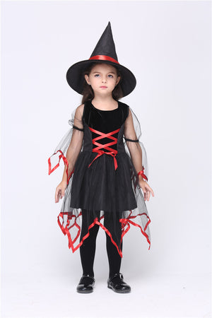 Cute Black Witch Cosplay Costumes Halloween Stage Performance Dress Kids Carnival Party Outfit