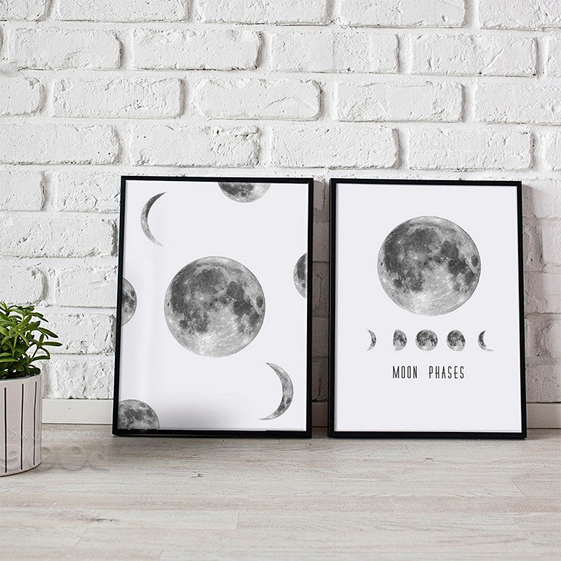 Moon Phase Canvas Art Print Painting Poster