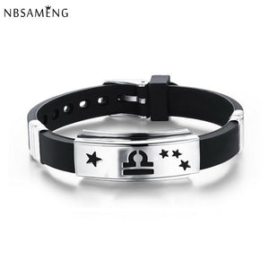 High Quality Silicone Adjustable Bracelets Stainless Steel 12 Constellation Zodiac Signs