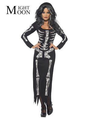 Halloween Role Playing Costumes Devil Witch Skull Skeleton Costume Women Nightclub Long Party Cosplay Dress