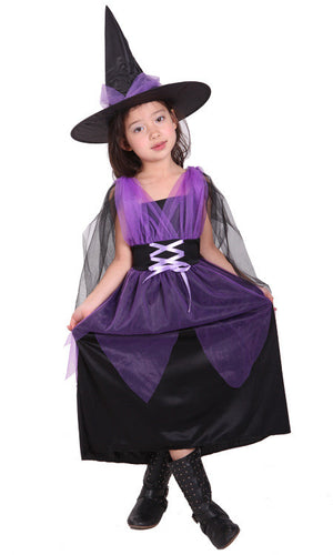 Little Witch Costumes Halloween Girl Witch Dress Cute Whimsy Festival Children's Cloth