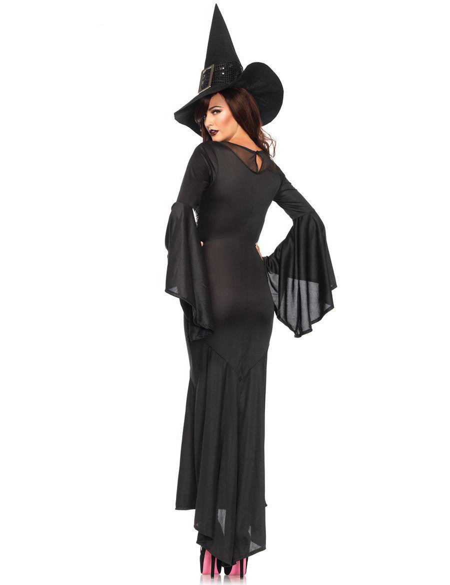 Halloween Adult Long Dress Cosplay Clothing Black Carnival Gothic Witch Costume