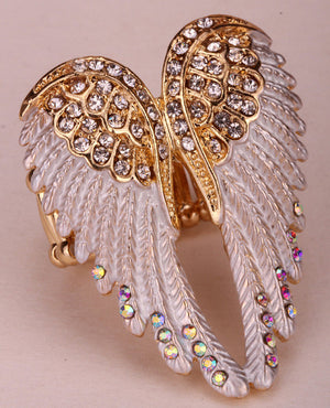Angel wings stretch ring women biker bling jewelry