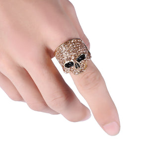 2017 Fashion Rock Punk Crystal SKull RingJewelry Retro Gothic Biker Rings