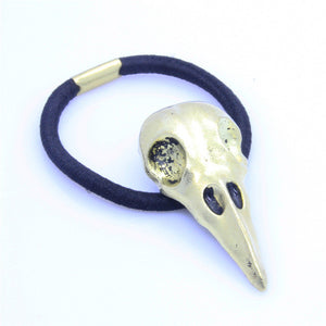 1 Pc Women Punk Gothic Raven Skull Elastic Hair Rope Metal Hair Accessories