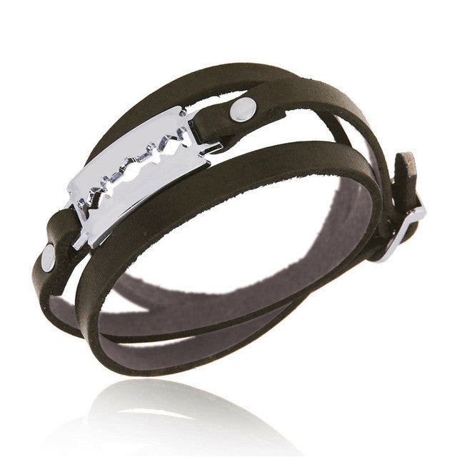 Genuine Leather Metal Razorblade Unique Cuff Multilayer Punk Gothic Rock Bangle Bracelet