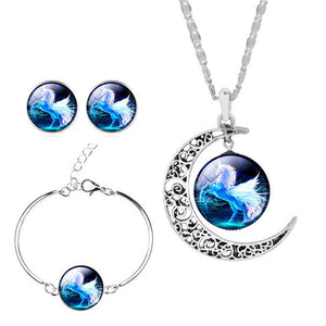 Unicorn Jewelry Set Earrings Bracelets & Bangles Statement Necklace Sets Vintage Silver Color