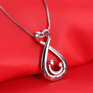 Mothers Day Gifts Charming For Mom Silver Plated Letter Design Pendant Necklace