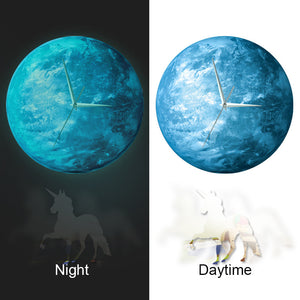 Glowing in the Dark Earth Wall Clock with Unicorn